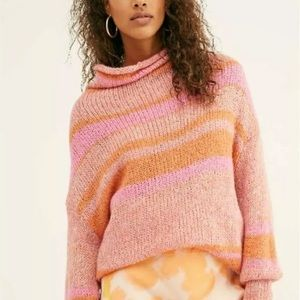 Free People Candy Stripe Tunic Sweater Waterfalls
